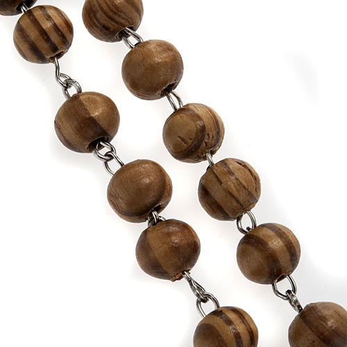 Rosary in olive wood with Roman Basilicas medal 8mm 2
