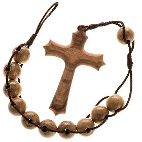 Assisi olive wood rosaries: Single decade rosary with cross and double binding