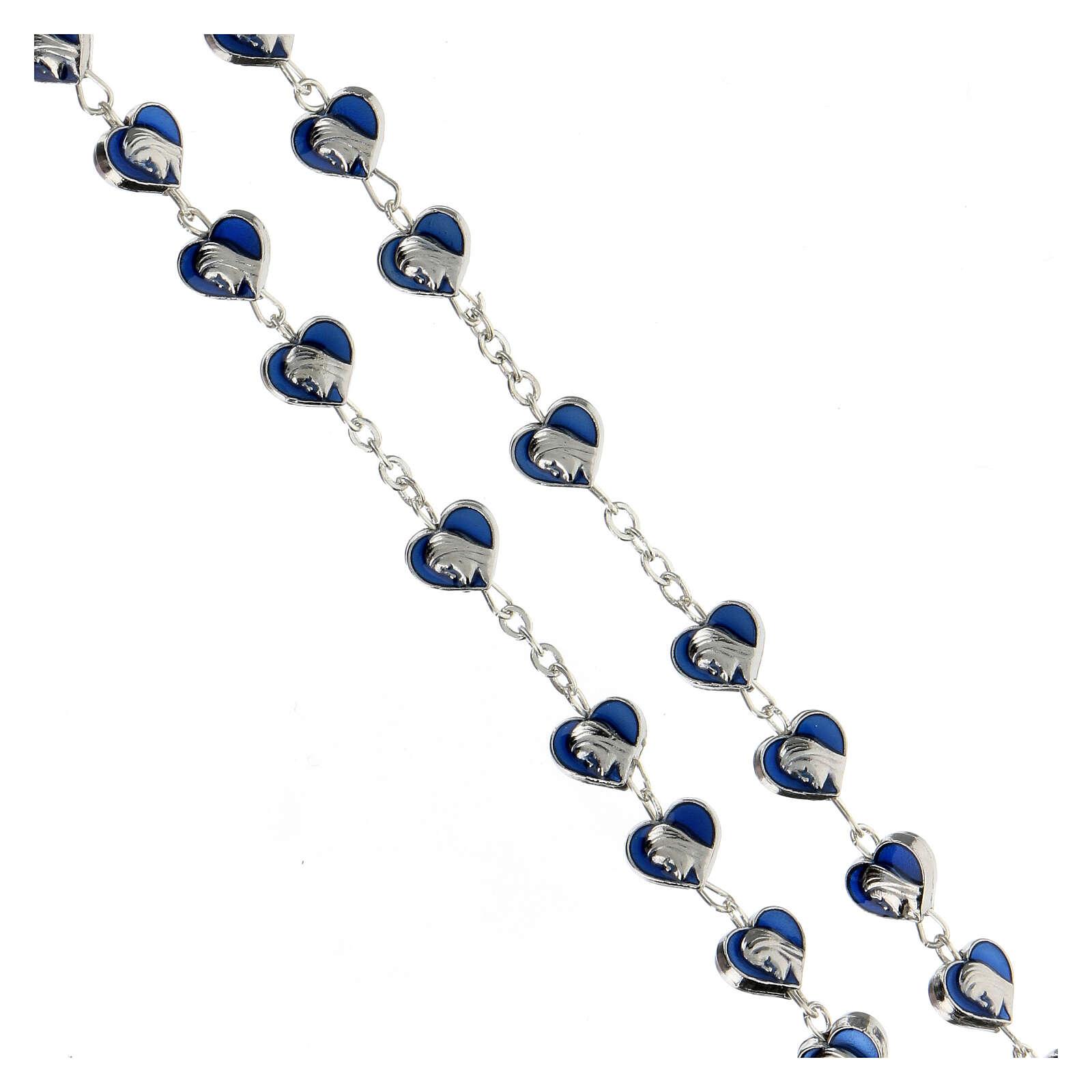 Rosario de metal con granos corazón 7 mm Virgen Milagrosa esmaltado azul 4