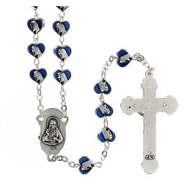 Rosario de metal con granos corazón 7 mm Virgen Milagrosa esmaltado azul s2
