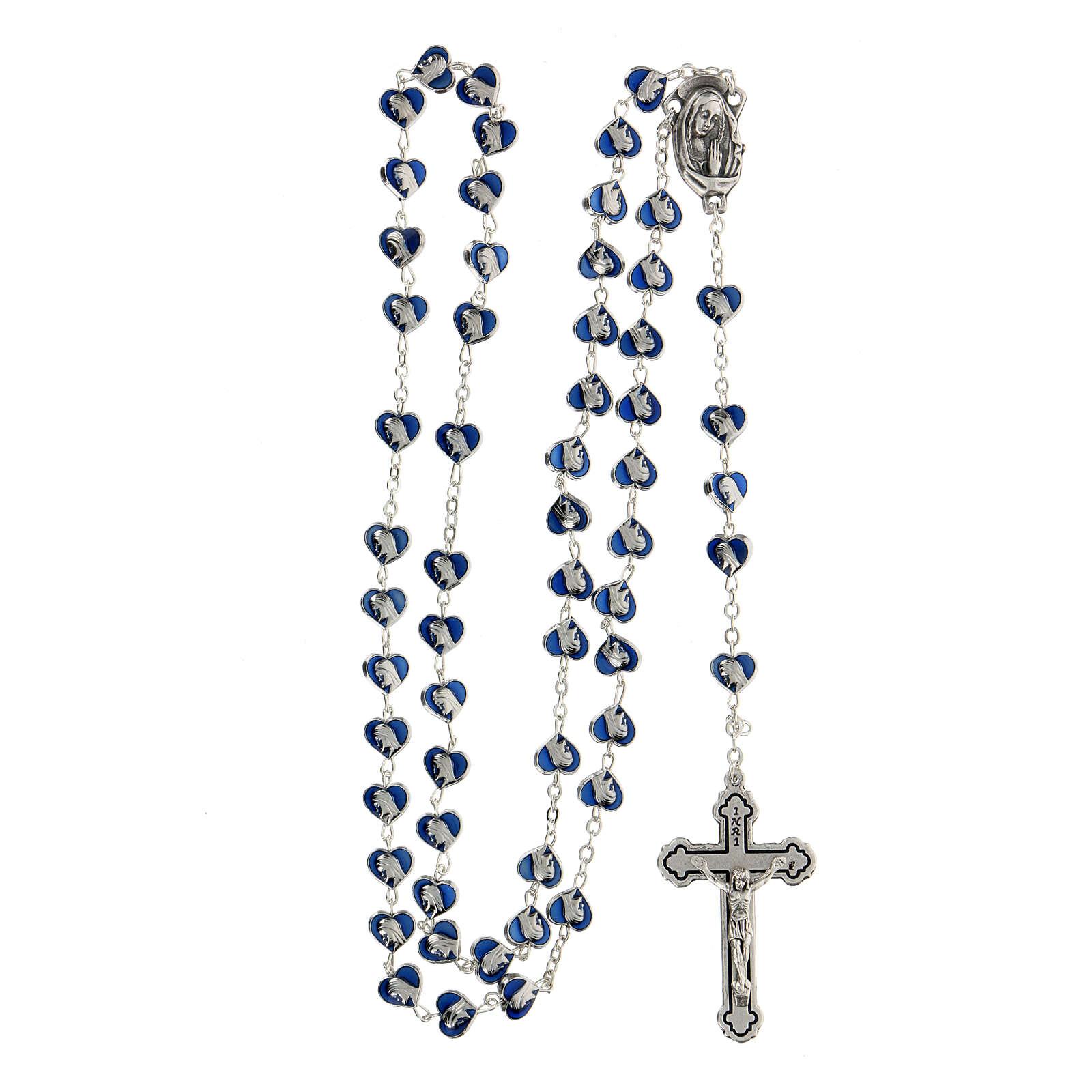 Rosario in metallo con grani cuore 7 mm Madonna Miracolosa smaltato blu 4