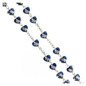 Rosario in metallo con grani cuore 7 mm Madonna Miracolosa smaltato blu s3