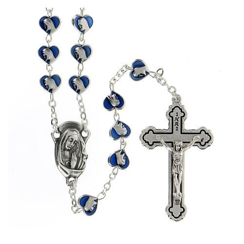 Rosario in metallo con grani cuore 7 mm Madonna Miracolosa smaltato blu 1