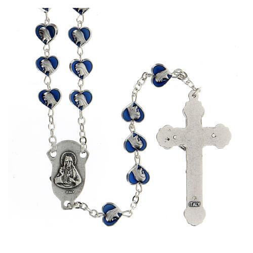 Rosario in metallo con grani cuore 7 mm Madonna Miracolosa smaltato blu 2