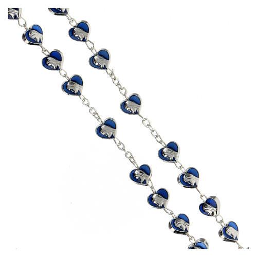 Rosario in metallo con grani cuore 7 mm Madonna Miracolosa smaltato blu 3
