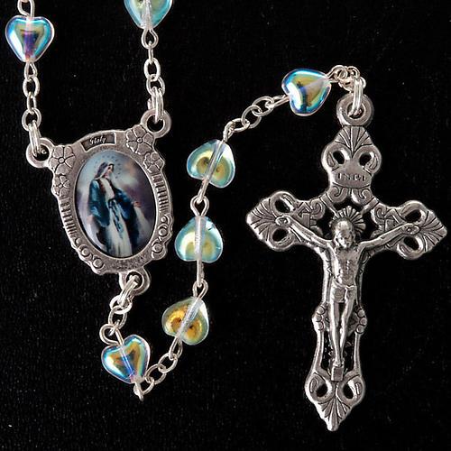 Rosario de vidrio corazón Virgen Milagrosa 4