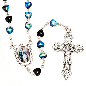 Miraculous Medal black glass rosary s1