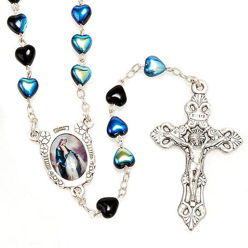 Miraculous Medal black glass rosary 1