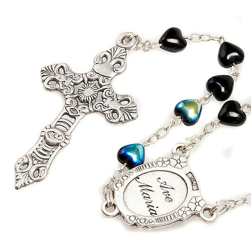 Miraculous Medal black glass rosary 2
