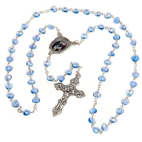 Rosario de vidrio azul Virgen Milagrosa 2