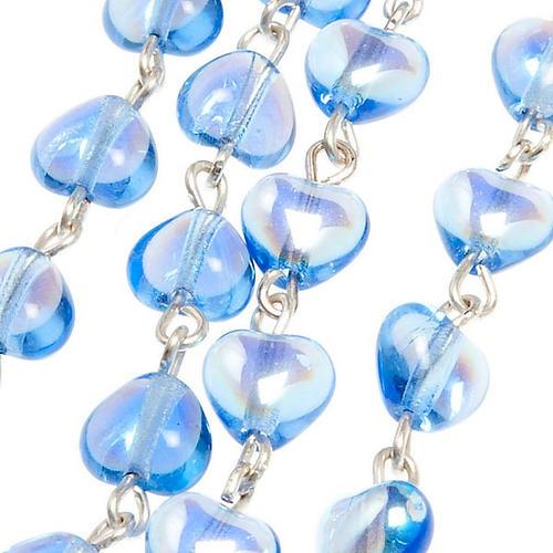 Rosario de vidrio azul Virgen Milagrosa 3