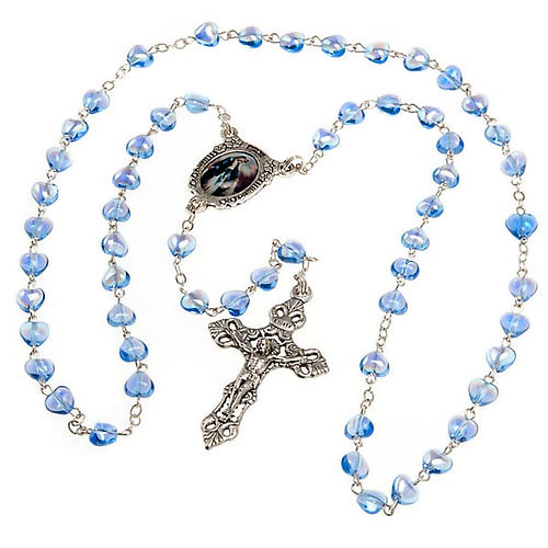 Rosario vetro blu Madonna Miracolosa 2