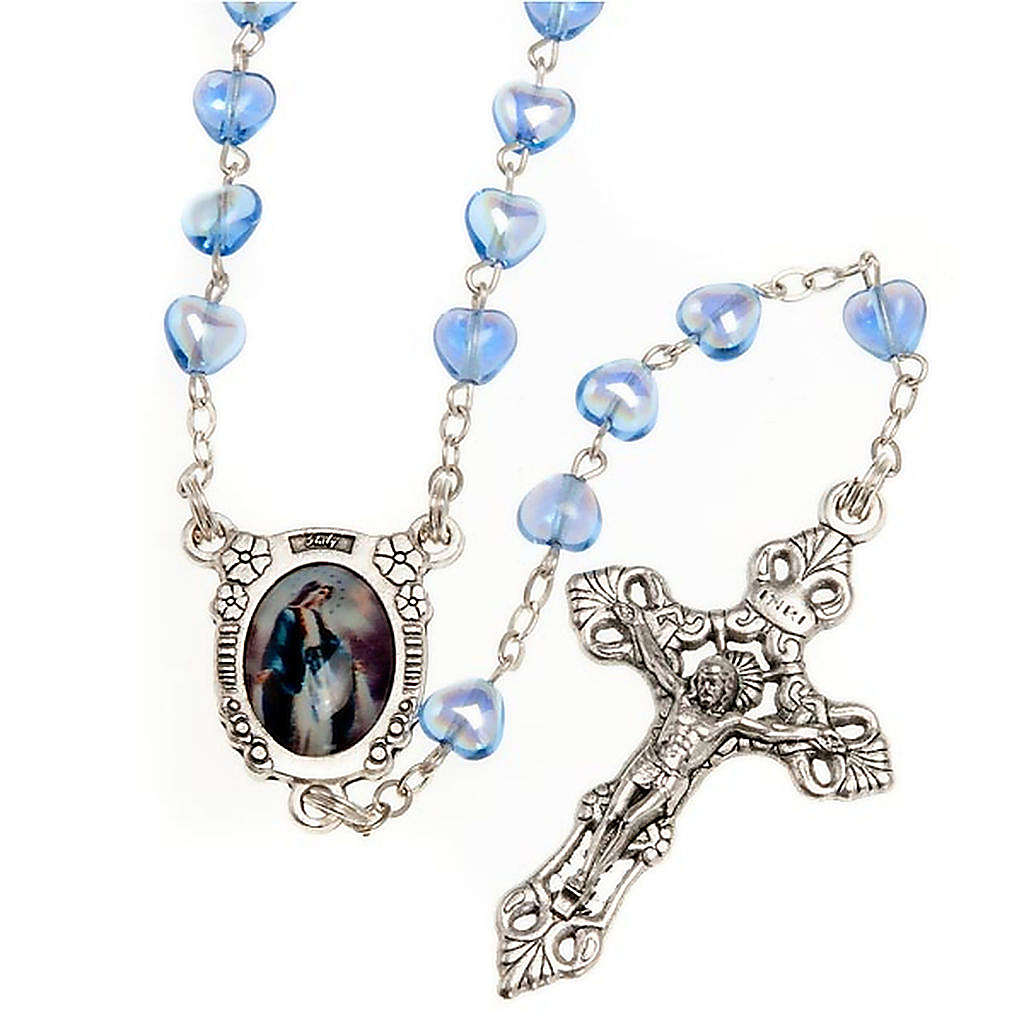 Miraculous Medal blue glass rosary 4