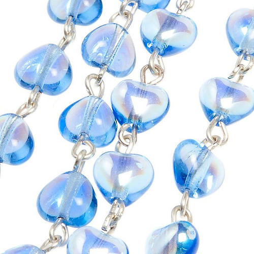 Miraculous Medal blue glass rosary 3