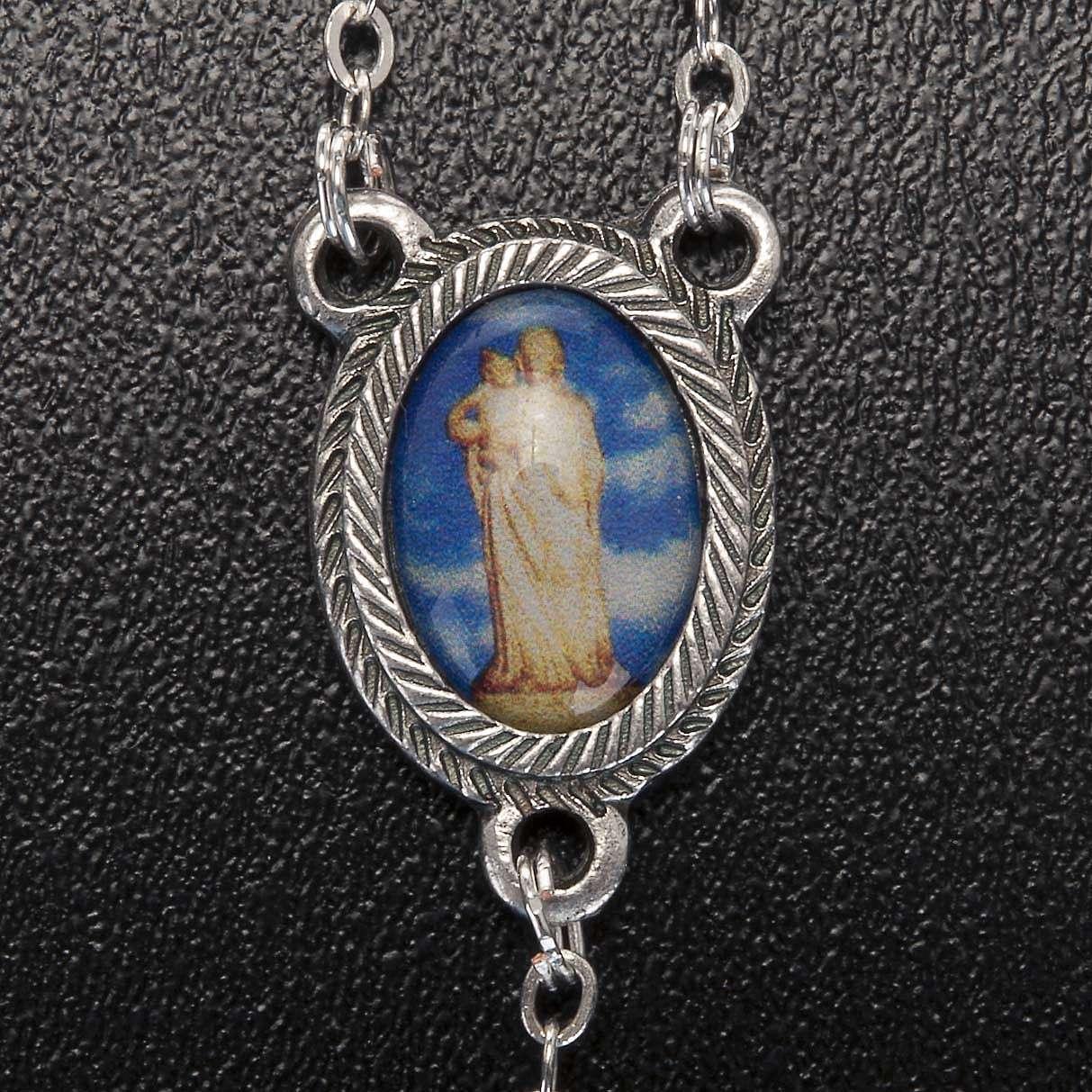 Rosario vidrio Virgen de Gonare blanco rojo verde 4