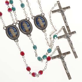 Rosario vetro Madonna di Gonare bianco rosso verde s1