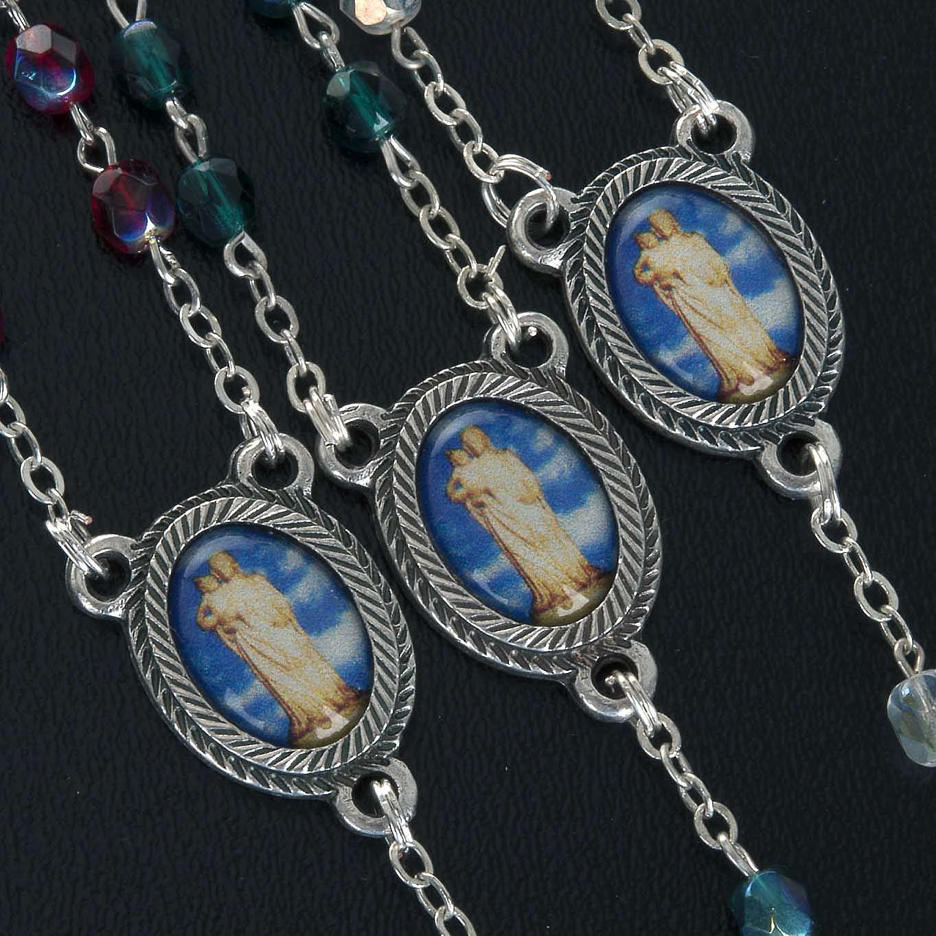Rosary in glass with Our Lady of Gonare, red, white and green 4