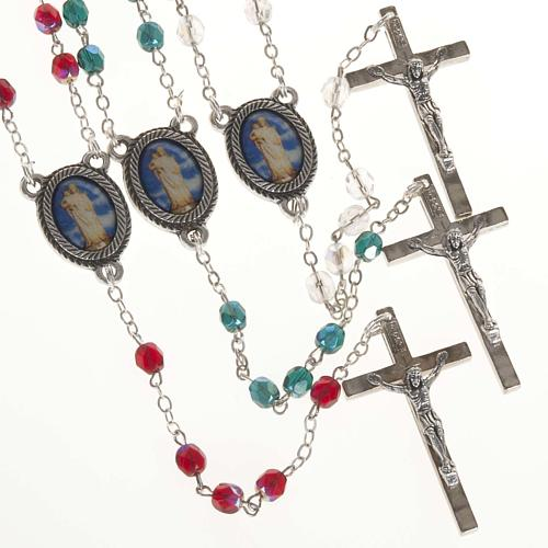 Rosary in glass with Our Lady of Gonare, red, white and green 1