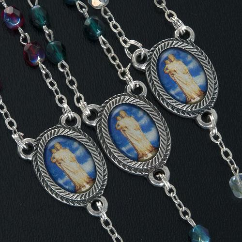 Rosary in glass with Our Lady of Gonare, red, white and green 2