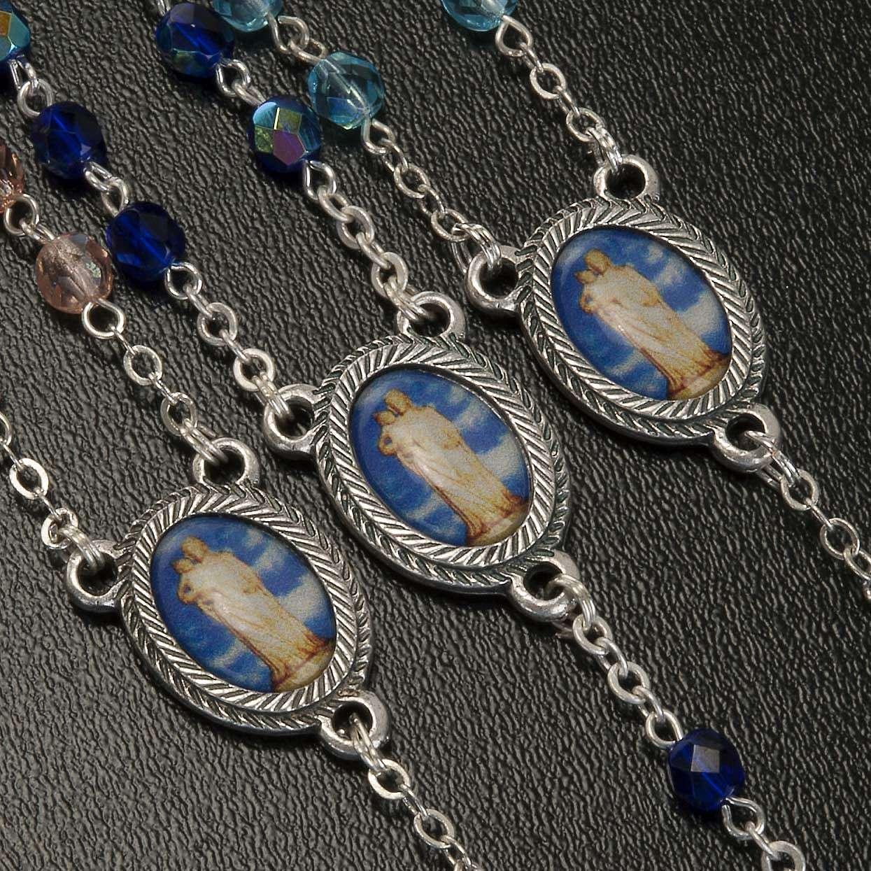 Rosario vidrio Virgen de Gonare azul turquesa rosado 4