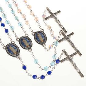 Rosario vidrio Virgen de Gonare azul turquesa rosado s1