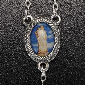Rosario vidrio Virgen de Gonare azul turquesa rosado s5