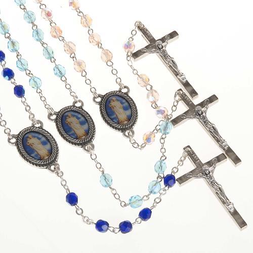 Rosario vidrio Virgen de Gonare azul turquesa rosado 1