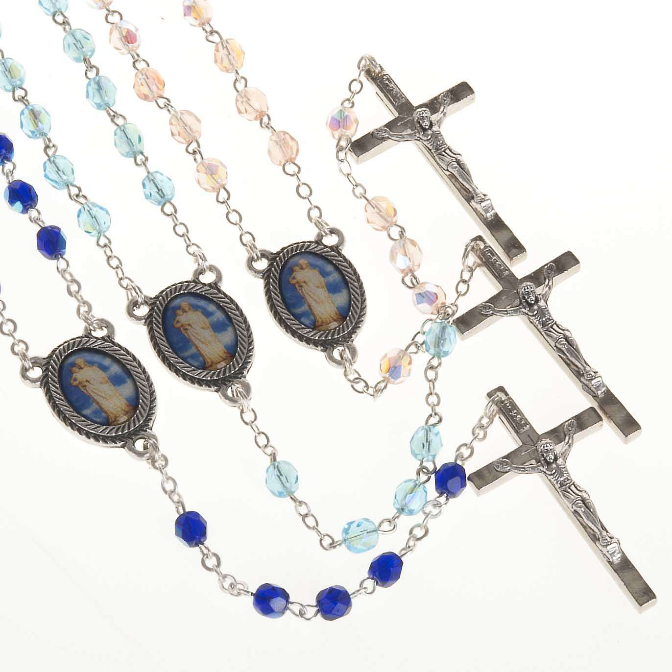 Rosary in glass with Our Lady of Gonare, blue, turquoise, pink 4