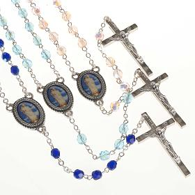 Rosary in glass with Our Lady of Gonare, blue, turquoise, pink s1