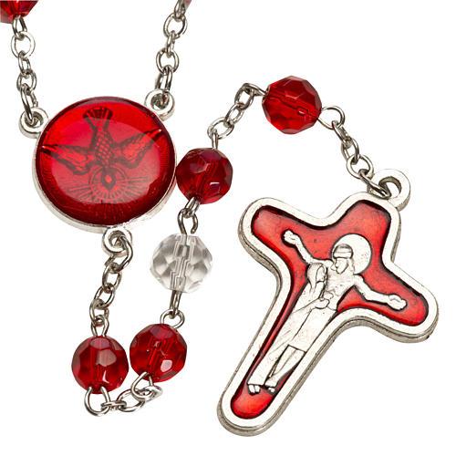 Rosario vidrio semi cristal rojo 6mm 1