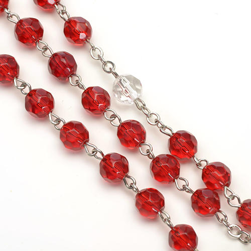 Rosario vidrio semi cristal rojo 6mm 3