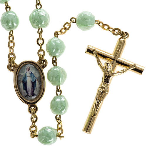 Rosary in glass with roses, green 6mm 1