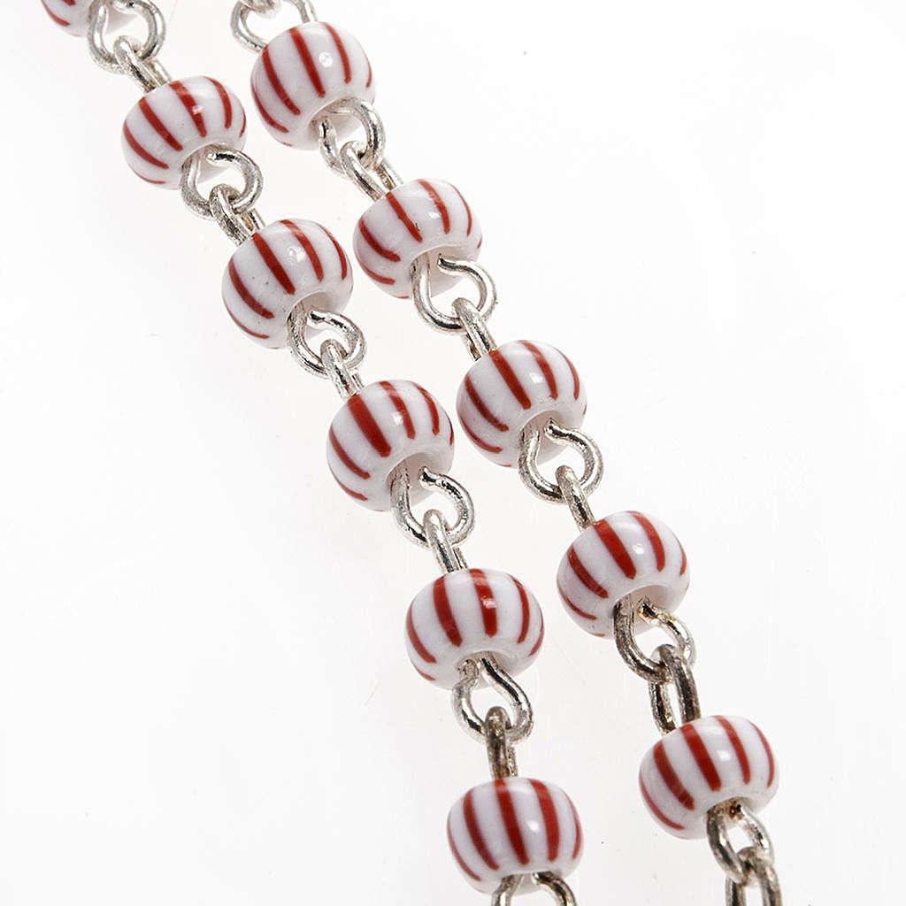 Rosario vidrio rayado blanco y rojo filigrana 4 mm 4