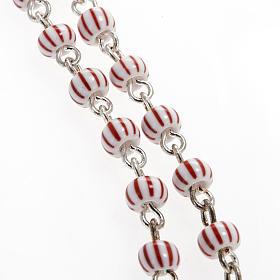 Rosario vidrio rayado blanco y rojo filigrana 4 mm s2