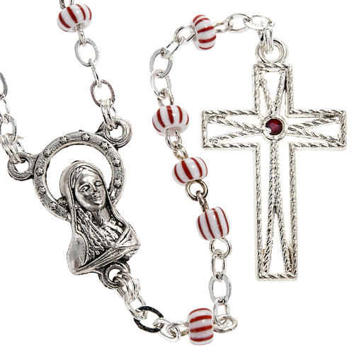 Rosary beads in red & white glass 4 mm 1