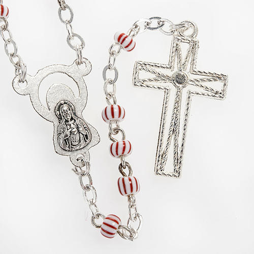 Rosary beads in red & white glass 4 mm 3