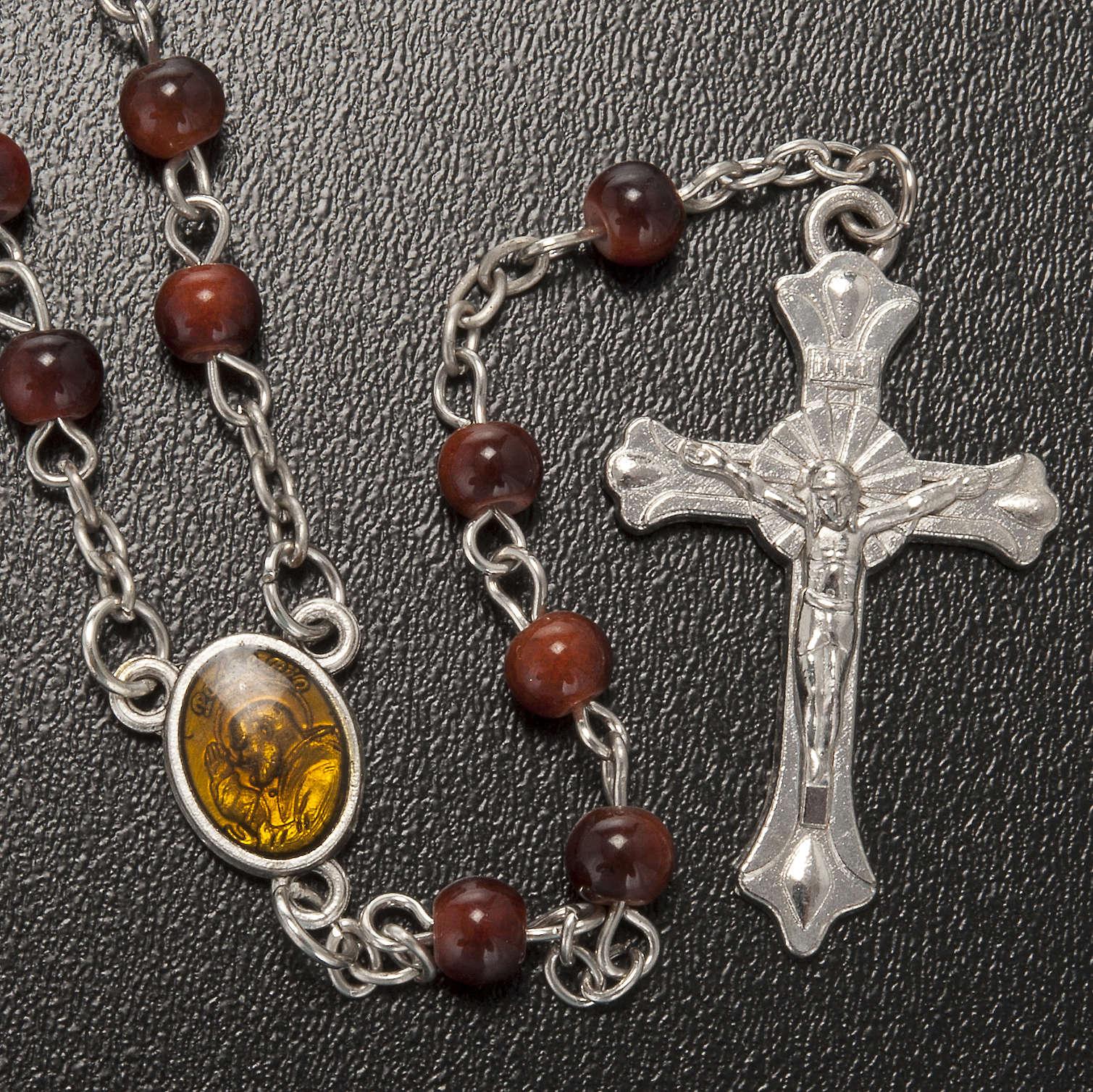 Rosario vetro marrone Padre Pio 4