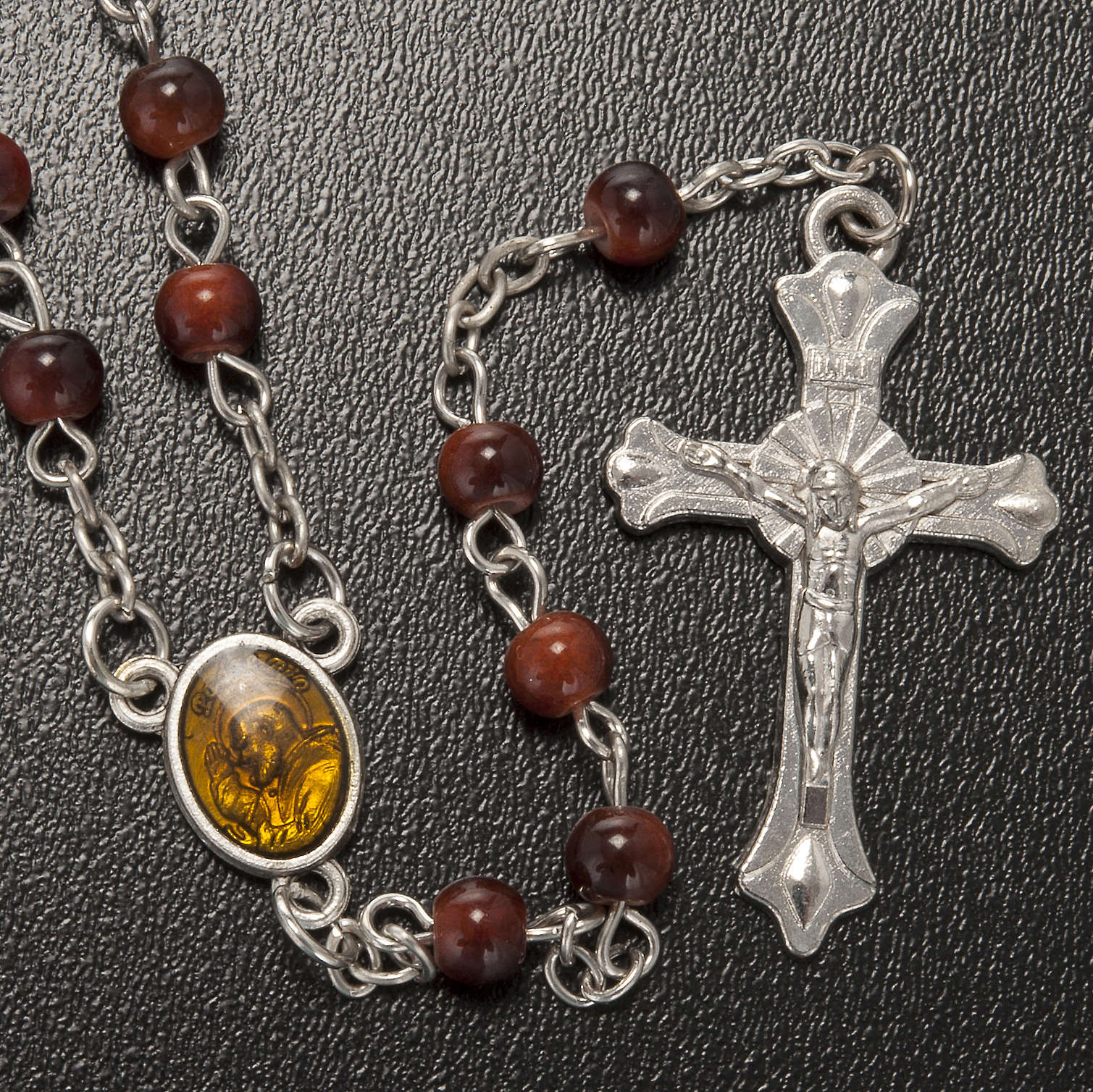 Rosary in brown glass, Padre Pio 4
