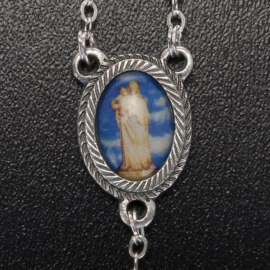 Rosario vetro Madonna di Gonare azzurro giallo nero 4