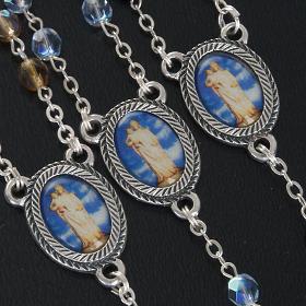 Rosario vetro Madonna di Gonare azzurro giallo nero s2