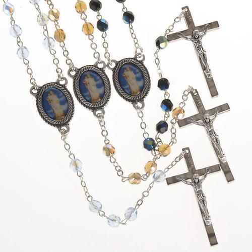 Rosario vetro Madonna di Gonare azzurro giallo nero 1