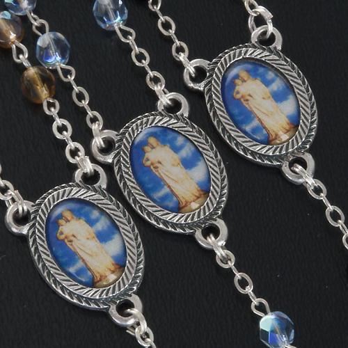 Rosario vetro Madonna di Gonare azzurro giallo nero 2