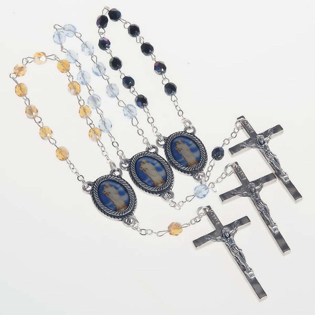 Rosario decena vidrio Virgen Gonare azul negro amarillo 4