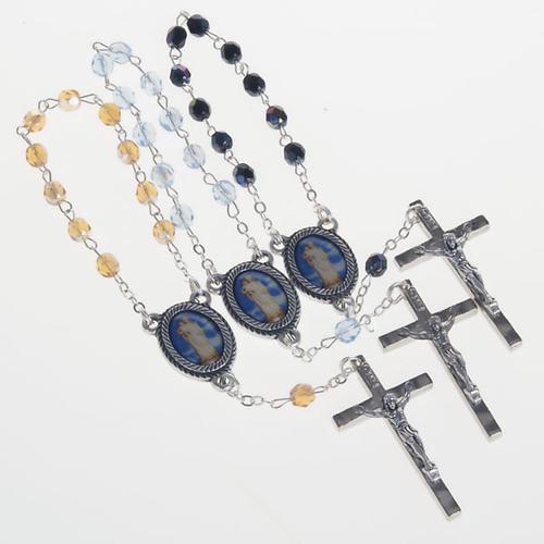 Chapelet dizainier verre Notre Dame de Gonare bleu jaune noir 1