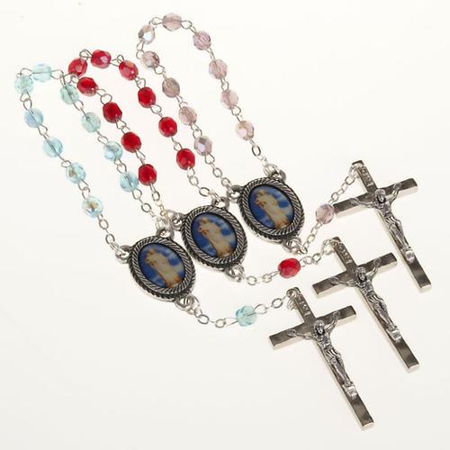 Rosario decena vidrio Virgen Gonare celeste rojo rosado 1