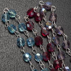Terço dezena vidro Nossa Senhora Gonare azul-celeste vermelho cor-de-rosa s3