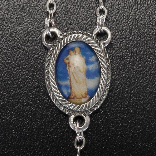 Terço dezena vidro Nossa Senhora Gonare azul-celeste vermelho cor-de-rosa 5