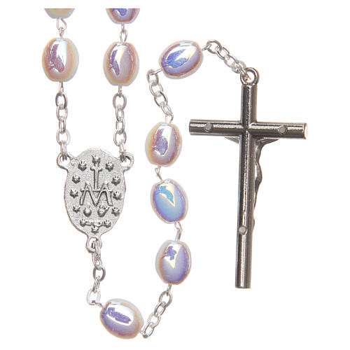 STOCK Rosary opalescent white glass, hand setting 2