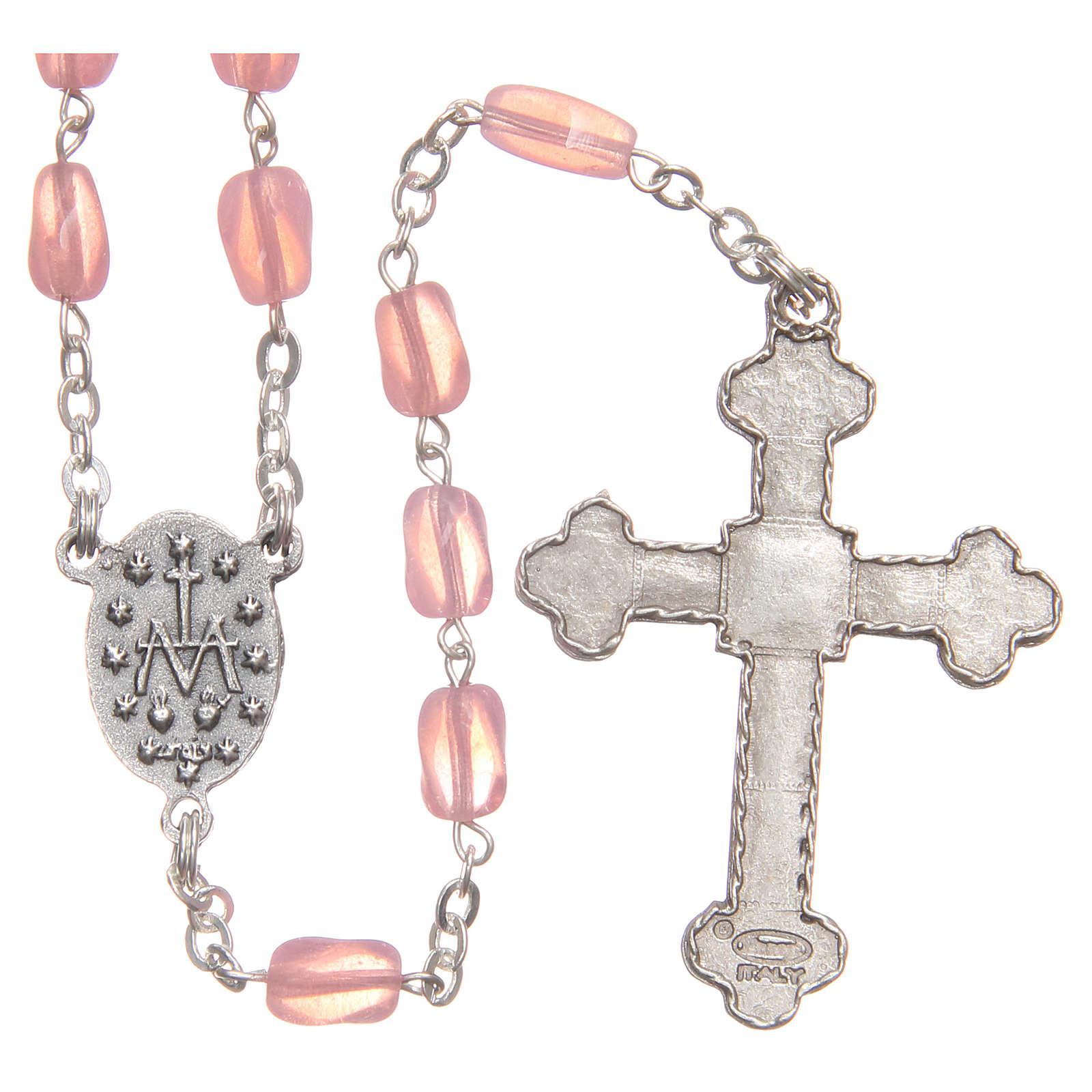 STOCK Rosario de vidrio rosa con cadena realizada a mano 4