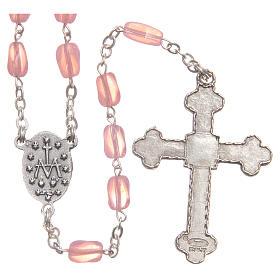 STOCK Rosario de vidrio rosa con cadena realizada a mano s2